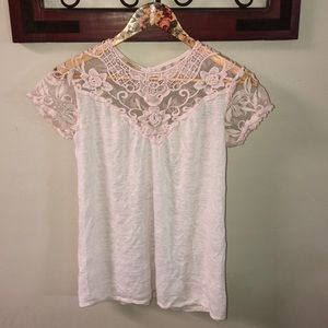 Top lace pink and white